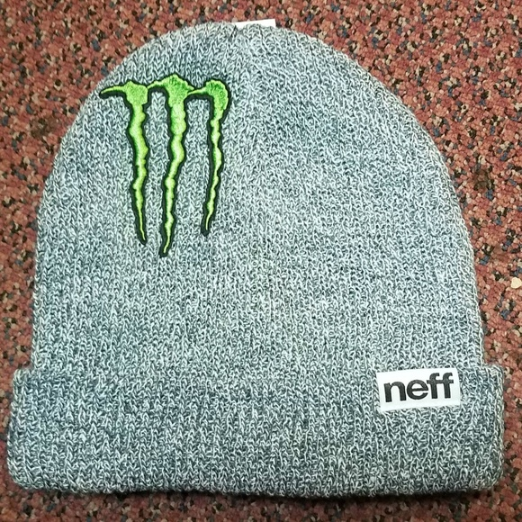 a851af85436 Monster Energy Beanie Athlete Gray Hat Winter Cap